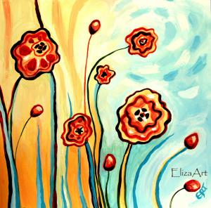 NEW Fun Floral Whimsical Paintings